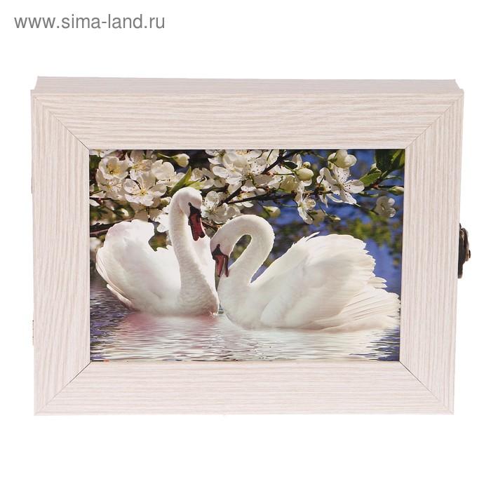 """Ключница Пара лебедей"""" молочный дуб 18х23х5 см"""