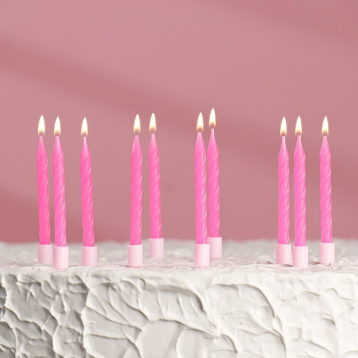 """Набор свечей для торта """"С Днём Рождения"""", неоновые, розовые, 10 шт - фото 35609127"""