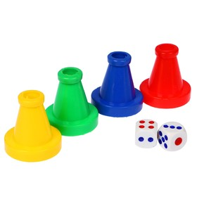 Set to play dice 4 chips 4.5x4x4 cm, 2 cube 1.5x1.5 cm