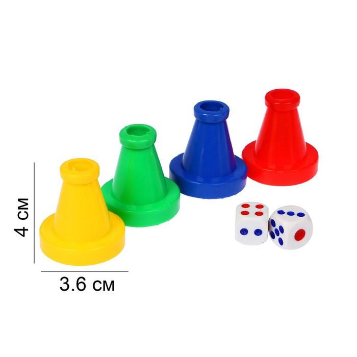 Набор для игры в кости 4 фишки 4.5х4х4 см, 2 кубика 1.5х1.5 см