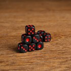 Dice 1.4x1.4 cm, black, red points, packing 100 PCs