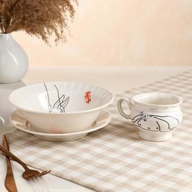"Столовый набор ""Зайчик"" тарелка d175 мм, салатник 0,5 л, чашка 0,2 л   микс"