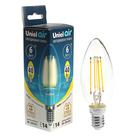 Лампа светодиодная Uniel Air, C35, E14, 6 Вт, 3000К, 230 В, свеча, прозрачная