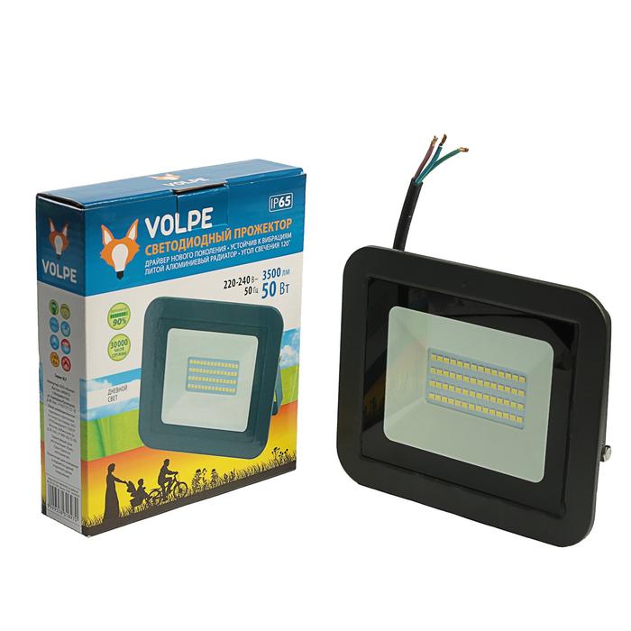 Прожектор светодиодный Volpe, 50 Вт, 6500K, IP65, 230 В, корпус черный