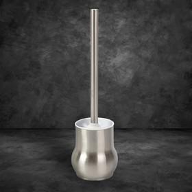 Ёрш для унитаза с подставкой, 9,5×9,5×37 см, цвет серебристый