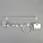 Набор для ванной комнаты, 6 предметов, алюминий, цвет серебро матовый