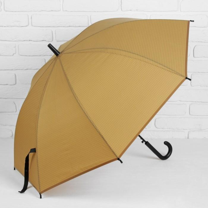 """Зонт-трость """"Клетка мелкая"""", полуавтоматический, R=46см, цвет бежевый"""