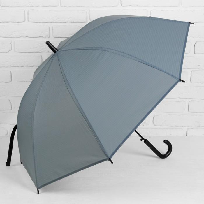 """Зонт-трость """"Клетка мелкая"""", полуавтоматический, R=46см, цвет серый"""
