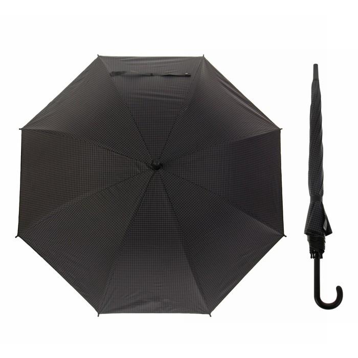 """Зонт-трость """"Клетка мелкая"""", полуавтоматический, R=46см, цвет чёрный"""