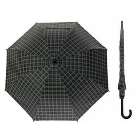 Зонт полуавтоматический 'Клетка крупная' , трость, R=46см, цвет чёрный/серый Ош