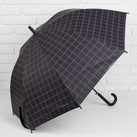 Зонт полуавтоматический 'Клетка крупная', трость, R=46см, цвет чёрный/фиолетовый Ош