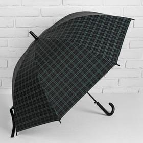 Зонт полуавтоматический 'Клетка крупная', трость, R=46см, цвет чёрный/голубой Ош