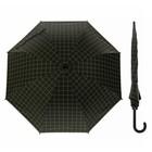 """Зонт-трость """"Клетка крупная"""", полуавтоматический, R=46см, цвет чёрный/зелёный"""