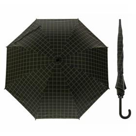 Зонт полуавтоматический 'Клетка крупная', трость, R=46см, цвет чёрный/зелёный Ош