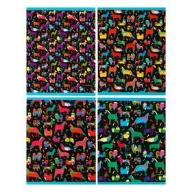 """Тетрадь 96 листов в клетку """"Яркие собачки"""", обложка мелованный картон, выборочный лак, глиттер, МИКС"""