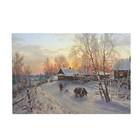 """Картина на подрамнике """"Зимний вечер в деревне"""" 64*44 см"""