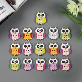 """A set of buttons decorative tree """"Owlets"""" (set 15 PCs) 2,5x1,7 cm"""