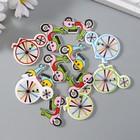 """Набор пуговиц декоративных дерево """"Велосипеды и мопеды"""" (набор 12 шт) 2х3 см"""