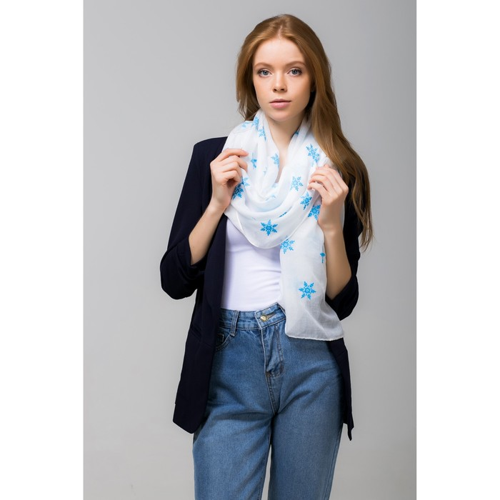 """Палантин Этель """"Снежинки"""", размер 70 х 180 см, вид 2, цвет белый/синий"""