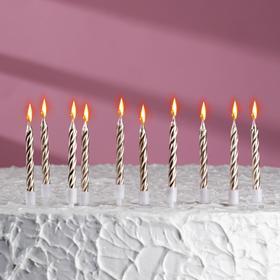 """Свечи в торт """"С днём рождения"""", 10 шт, средние, бронзовый металлик"""