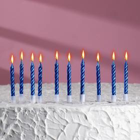 """Свечи в торт """"С днём рождения"""", 10 шт, средние, синий металлик"""