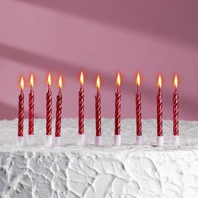 """Свечи в торт """"С днём рождения"""", 10 шт, средние, красный металлик"""
