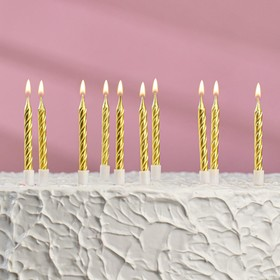 """Свечи в торт """"С днём рождения"""" 10 шт, средние, металлик"""