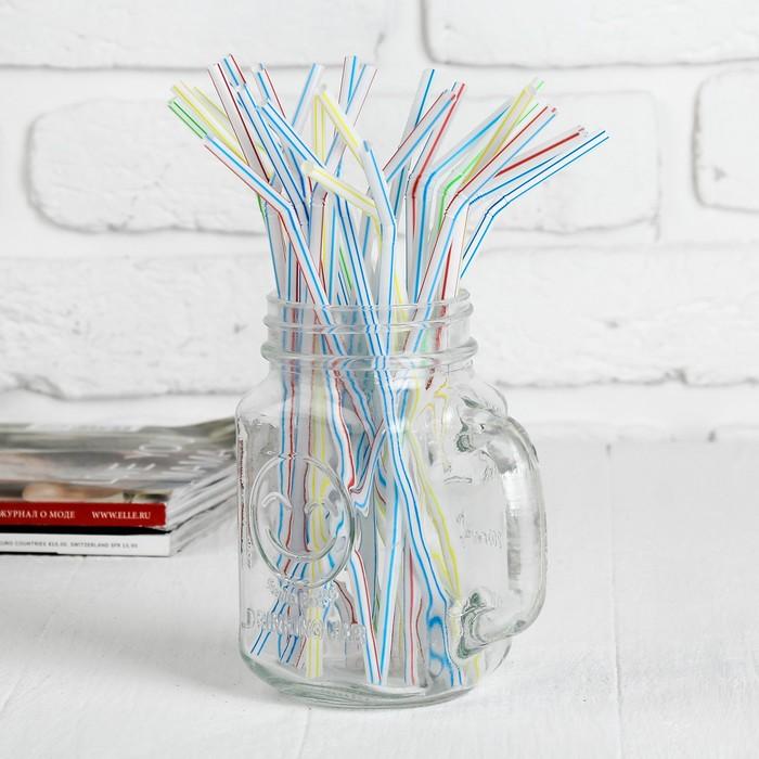Трубочки для коктейля в полоску, цвета МИКС, набор 100 штук