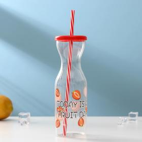 "Bottle of 450 ml ""Citrus boom"", with a straw, MIX color"