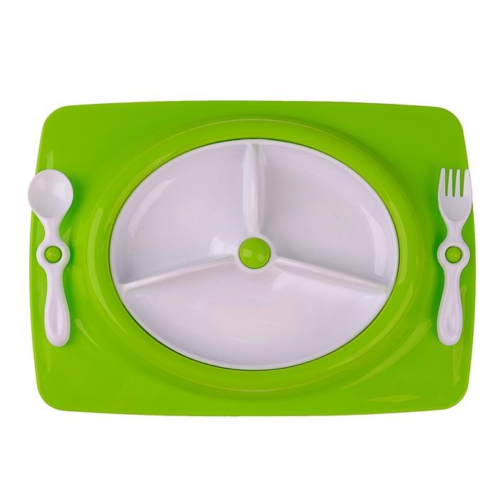 Набор детской посуды, 4 предмета: тарелка трёхсекционная, подставка, ложка, вилка, от 5 мес., цвет зелёный