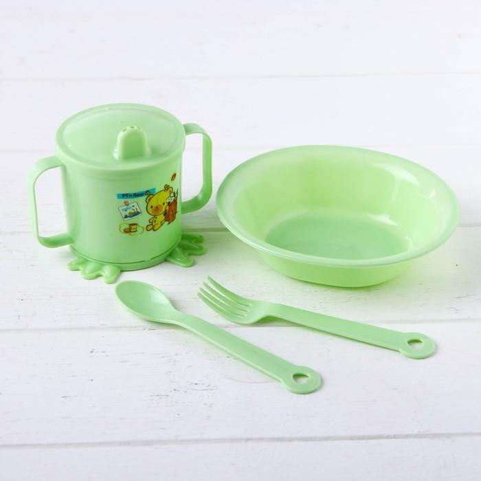 Набор детской посуды, 4 предмета: миска, ложка, вилка, поильник с твёрдым носиком 200 мл, цвета МИКС - фото 105458840