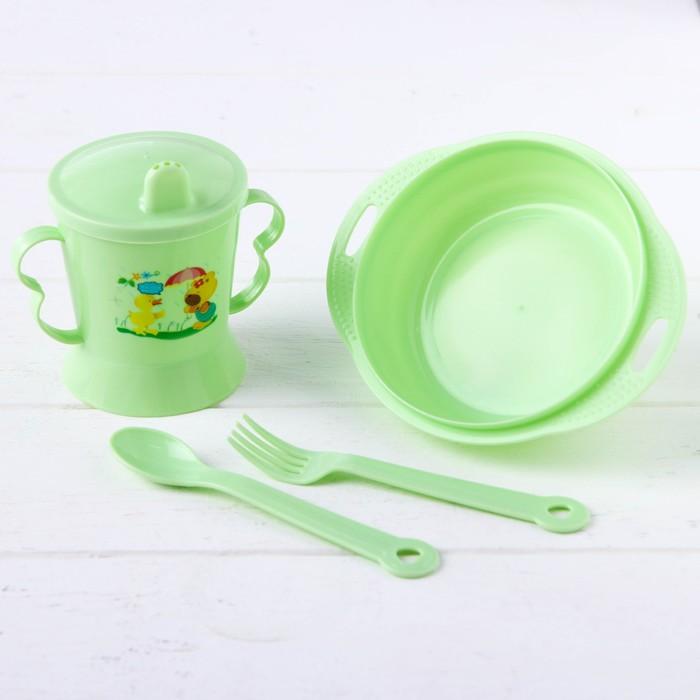 Набор детской посуды, 4 предмета: миска, ложка, вилка, поильник с твёрдым носиком 200 мл, цвета МИКС - фото 105458853
