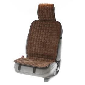 Накидка на переднее сиденье автомобиля, искусственный мех, коричневая