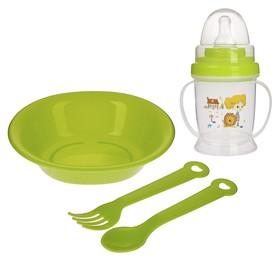 Набор детской посуды, 4 предмета: миска, ложка, вилка, поильник с соской 200 мл, цвета МИКС Ош