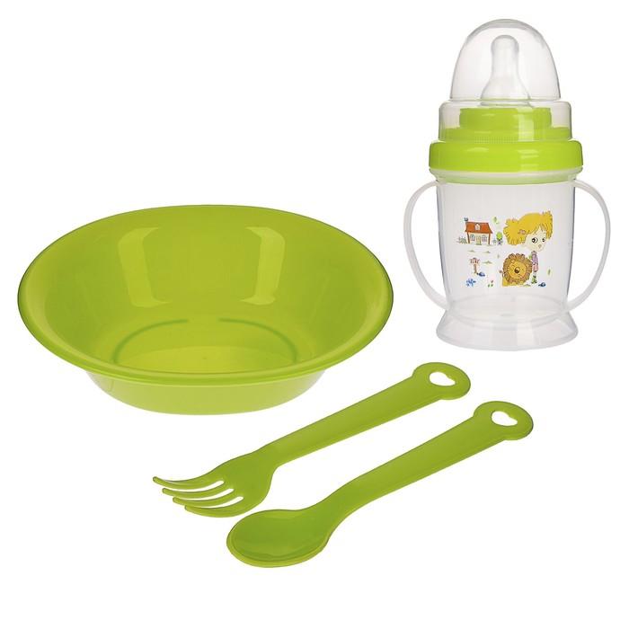 Набор детской посуды, 4 предмета: миска, ложка, вилка, поильник с соской 200 мл, цвета МИКС
