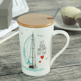 Mug 400 ml of a Sea breeze, with a wooden lid and spoon, pattern MIX