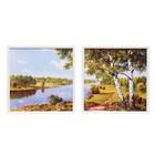 """Модульная картина """"Две берёзы на берегу речки"""" (33*33см-2шт) 33*70 см"""