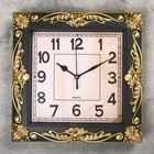 Часы настенные, квадратные, декор по периметру под золото, бронзовые, 26х26 см