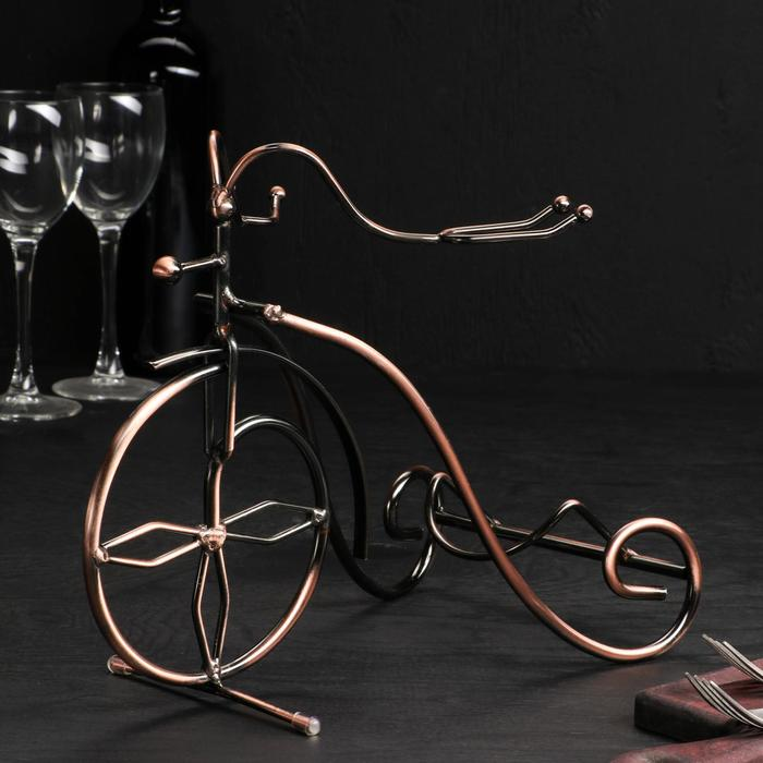 Подставка для бутылки «Велосипед», 35×11,5×18,5 см, цвет коричневый