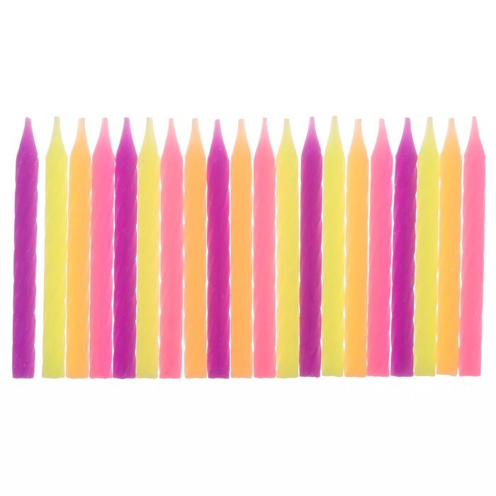 """Набор свечей в торт """"С днем рождения"""" 20 шт. - фото 35609711"""