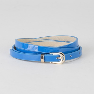 Belt ladies, smooth lacquer, buckle and yoke gold, width - 0.8 cm, color blue