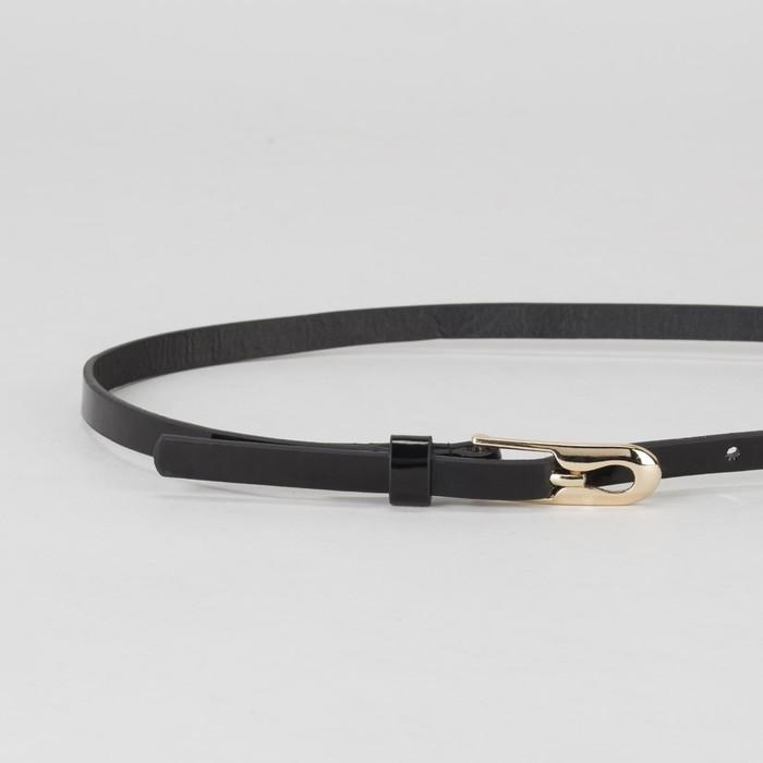 Ремень женский, гладкий лак, пряжка и хомут золото, ширина - 0,8 см, цвет чёрный