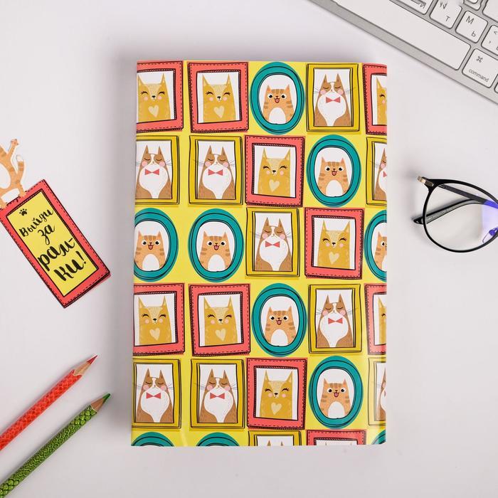 """Обложка для книги с закладкой """"Коты"""", 43 х 24 см"""