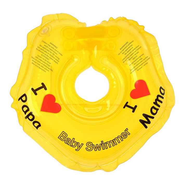 Круг на шею для купания, полноцветный, цвет жёлтый