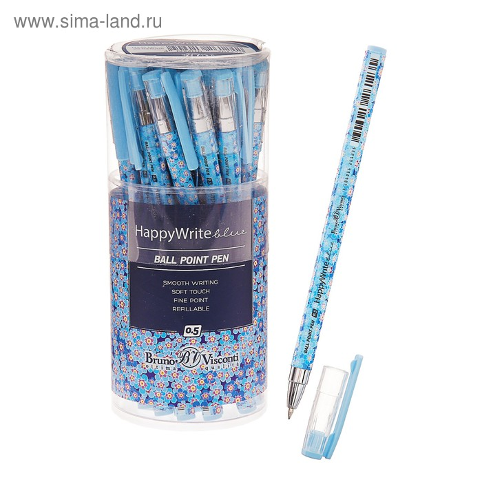 Ручка шариковая BrunoVisconti HappyWrite. Васильки, 0.5 мм синяя