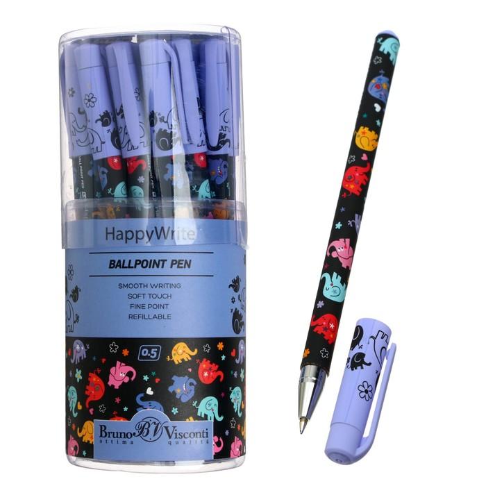 Ручка шариковая BrunoVisconti HappyWrite. Разноцветные слоники, 0.5 мм синяя