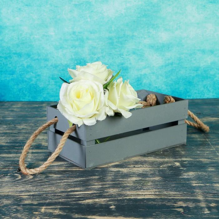 Кашпо флористическое, чёрное, ручка- шнур, 24,5х13,5х9см