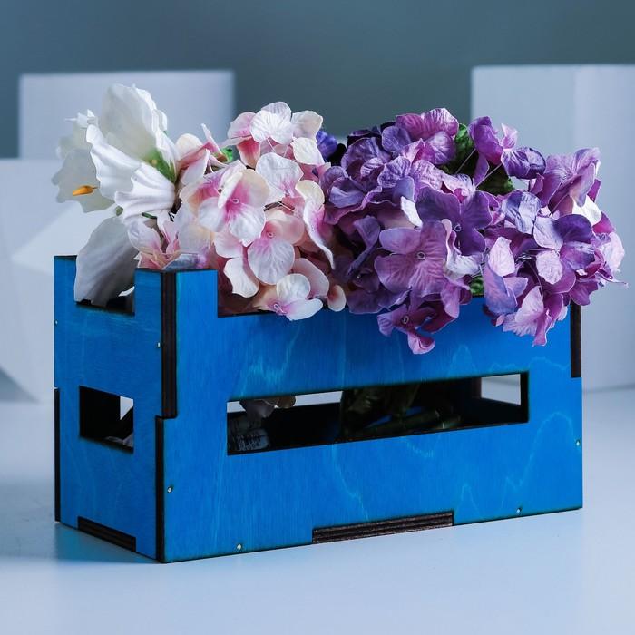 Кашпо флористическое, синий, 21 х 11 х 12 см