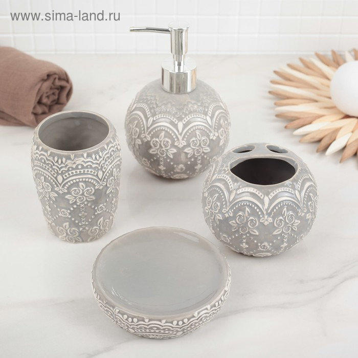 """Set of bathroom accessories, 4 piece """"Roses. Pattern"""""""