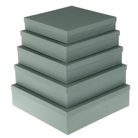 """Set boxes 5v1 """"Grey canvas"""", with inlay, 34 x 34 x 9 26 x 26 x 5 cm"""